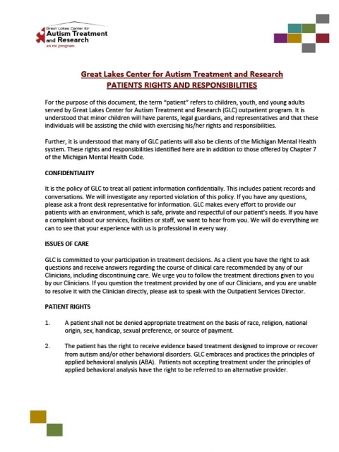 Forms L Great Lakes Center For Autism Treatment And Research